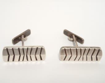 Retro Modernist Sterling Hand Forged Cufflinks