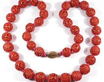 Antique Red Cinnabar Chinese Necklace 15mm 24 Inches