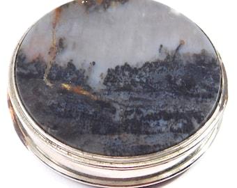 Art Deco Agate Compact Mirrored Box Silver Rare