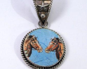 Designer Sterling Double Horse Porcelain Pendant