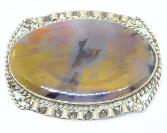 Old Silver Picture Agate Brooch Hand Forged
