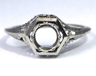 18k Edwardian Filigree Ring Mounting Setting 1915 White Gold