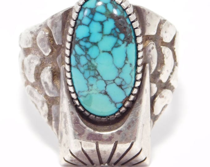 Featured listing image: Signed Heavy Turquoise Sterling Silver Ring