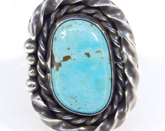 Silver Turquoise Southwest Ring Great Color