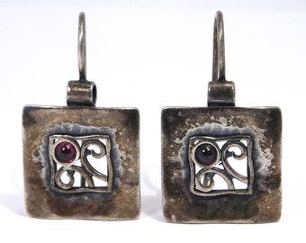 Designer Earrings Shablool Didae Israel Sterling Silver Garnet