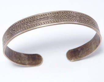 Interesting Old Ethnic Silver Engraved Cuff Bracelet