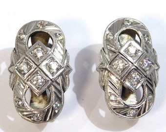 Art Deco Silver Paste Engraved Earrings Beautiful