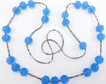 Antique Peking Glass Carved Beads On Silk Shou Symbol