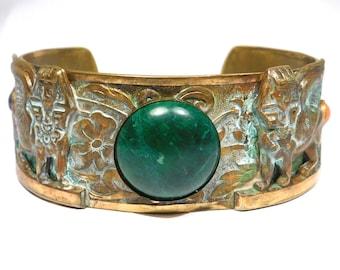 Fun Deco Vintage Egyptian Brass Glass Sphinx Cuff Bracelet