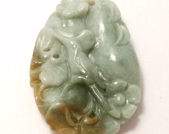 Carved Jade Bird Pendant Moss Jade Pendant