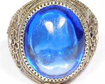 Old Chinese Silver Filigree Cobalt Peking Glass Ring