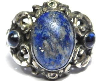 Austro Hungarian Silver Lapis Ornate Antique Ring