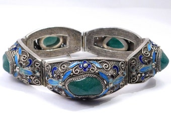 Ornate Silver Cloisonne Aventurine Filigree Chinese Bracelet