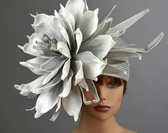 Silver Kentucky Derby Hat Giant Flower Coctail Couture Woman Party Carnival