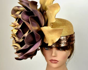 Gold Kentucky Derby Hat Giant Flower Coctail Couture Woman Party Carnival