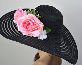 c1f6bf913a393 Woman Black Pink Hat Church Wedding Hat Head Piece Kentucky Derby Hat Bridal  Coctail Hat Couture Fascinator Bridal Hat