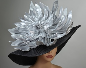 Black Silver Kentucky Derby Hat Giant Flower Coctail Couture Woman Party Carnival