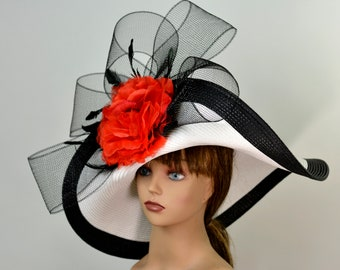 82f7f186836 Woman White Black Strips Hat Red Flower Church Wedding Hat Head Piece Kentucky  Derby Hat Bridal Coctail Hat Couture Fascinator Bridal Hat