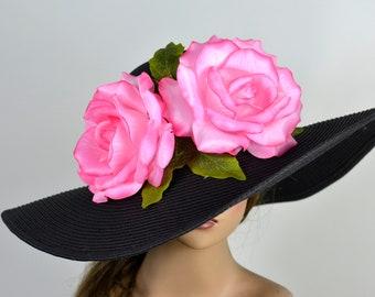 00275d5210be2 Black Pink Church Wedding Hat Head Piece Kentucky Derby Hat White Bridal  Coctail Hat Couture Fascinator Bridal Hat Woman Hat Summer Hat