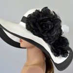 Woman Strips Hat Church Wedding Floppy Kentucky Derby Hat Bridal Coctail Hat Couture Fascinator  Bridal Hat