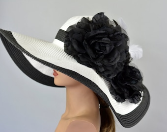 Woman Strips Hat Church Wedding Floppy Kentucky Derby Hat Bridal Coctail Hat  Couture Fascinator Bridal Hat 7c6d34f5e59