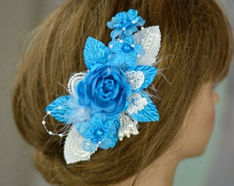 Blue Bridal Flower Hair Clip Wedding Accessory Pearls Lace Feathers