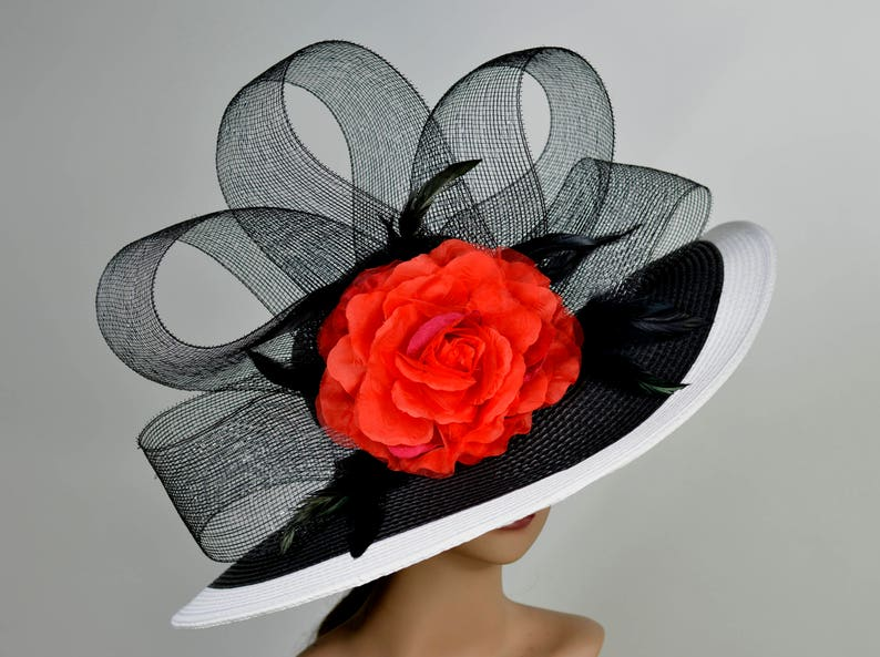 Woman Strips Hat Church Wedding Hat Floppy Kentucky Derby Hat Bridal Coctail Hat Couture Fascinator  Bridal Hat