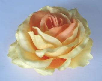 Yellow Orange Bridal Flower Hair Clip Wedding Hair Clip  Wedding Accessory Rose Bridal Hair Clip