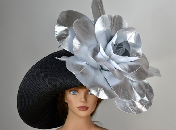 Black Silver Hat Huge Flower Wedding Hat Woman Hat Tea Party  07f6d9f23cd
