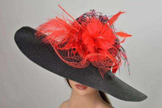 e1265d3e7c33a Black Red Church Wedding Hat Head Piece Kentucky Derby Hat