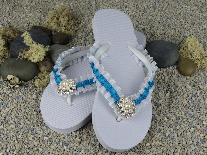 238376b45 Bridal Flip Flops Wedding Flip Flops White Tuequoise Flip