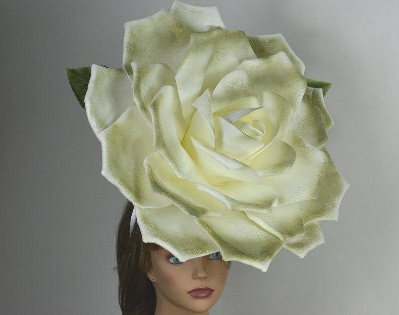 Over Size Rose Headband Wedding Hat Kentucky Derby Hat Church Hat Coctail Hat Couture Fascinator  Bridal Hat
