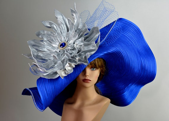 Huge Over Size Royal Blue Hat Church Wedding Hat Head Piece  66d24fa5051