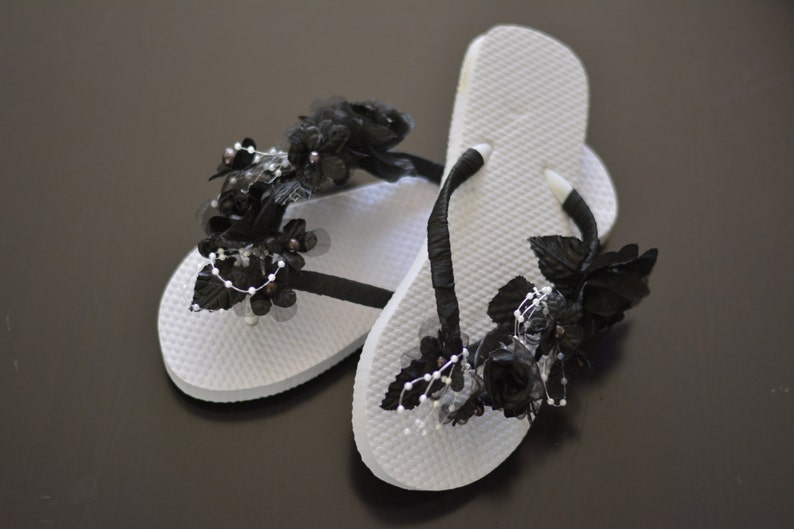 ce25081b3bcd5b Black Bridal Flip Flops Wedding Flip Flops Black Flip Ribbon