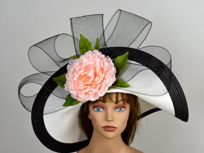 Woman White Black Strips Hat Pink Flower Church Wedding Hat Kentucky Derby Hat Bridal Coctail Hat Couture Fascinator  Bridal Hat