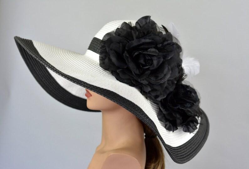 Woman Strips Hat Church Wedding Floppy Kentucky Derby Hat image 0