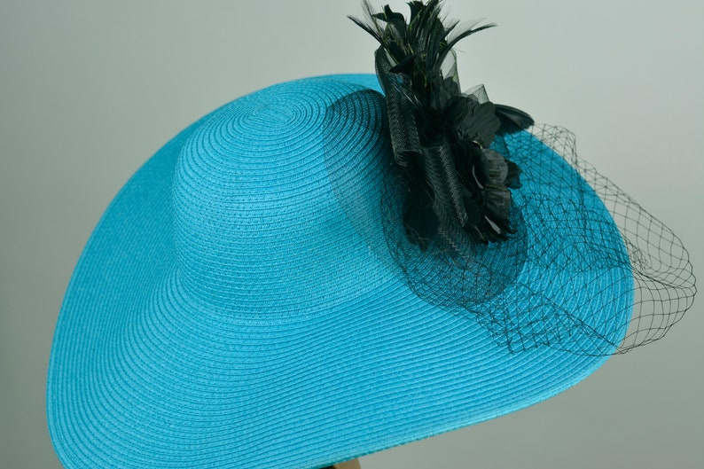 Turquoise Woman Hat Church Wedding Hat Head Piece Kentucky Derby Hat Bridal Coctail Hat Couture Fascinator  Bridal Hat