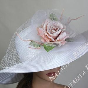White Wedding Hat Head Piece Church Kentucky Derby Hat Satin Bridal Coctail Hat Couture Fascinator  Bridal Hat