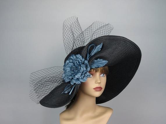 Black Wedding Hat Handmade Leather Flower Kentucky Derby Hat Black Bridal Coctail Hat Couture  Bridal Hat