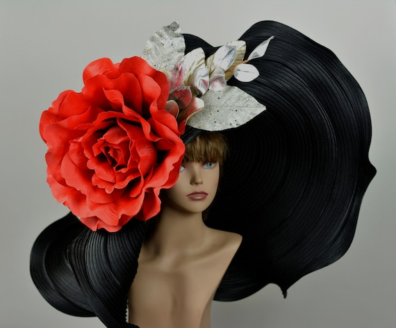 Huge Over Size Black Red Hat Church Wedding Hat Head Piece  a2ed44e9e97