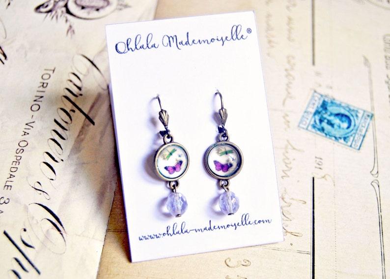 handmade glass cabochon earrings retro earrings Vintage inspired butterfly earrings vintage earrings romantic earrings