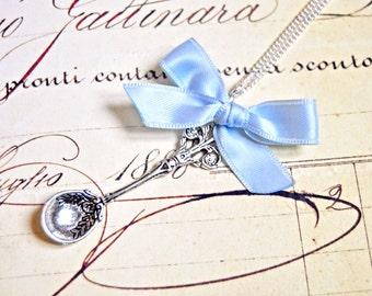 Alice in wonderland teaspoon necklace, fairytale inspired necklace, vintage necklace