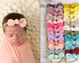 Ivory Handtied Bow InfantToddler Nylon Headbands Baby girl Pink Crochet Lace Dainty Bow Headband Fabric hair bowsClips