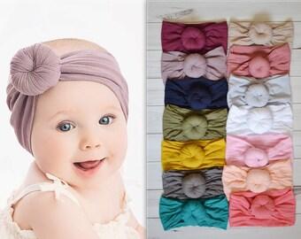 Nylon Turban, Knot nylon head wrap, Stretch soft nylon baby headband, One size fits all, nylon baby headband, ROUND KNOT turban head wrap