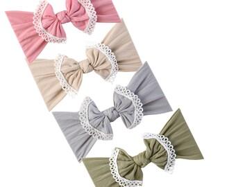 Choose color, Lace Trim Nylon Baby Headbands, Stretch soft nylon headwraps, baby headband, One size fits all, LACE TRIM BOW nylon head wrap