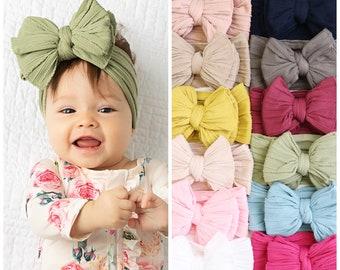 baby turban One size fits ALL nylon headband large bow headband newborn headband EMMA BOW wide nylon headband Big Bow Nylon Headwrap