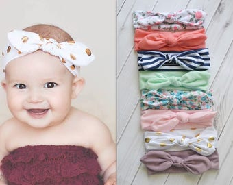 Pick 3 Knotted Baby Headbands, Stretch Jersey knit headbands, baby headband, headband set, newborn headbands, infant headband, hair bow