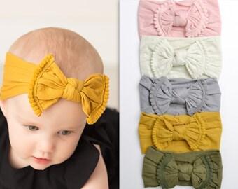 Pom Pom Nylon Baby Headbands, Knot nylon headwraps, baby headband, newborn headbands, infant headband, One size fit all, SOLID POM POM bow
