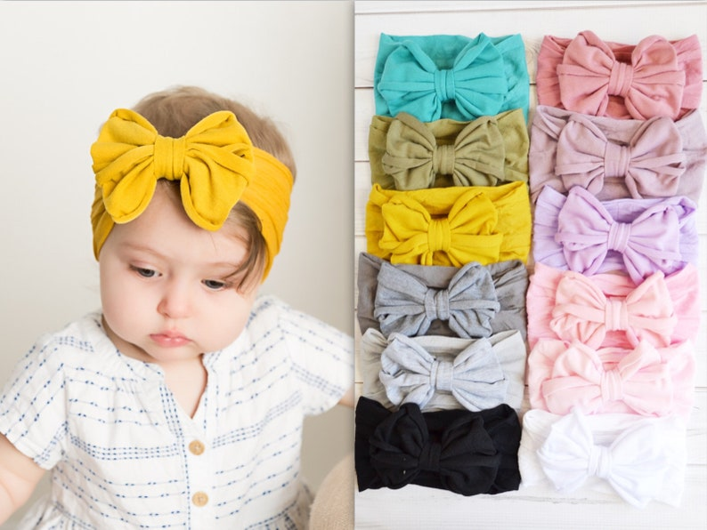 c7843b63a Nylon Big Bow Baby Headband Stretch soft nylon head wraps | Etsy