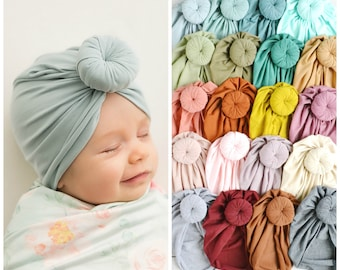 Baby Turbans, Baby knot turban, baby headwrap, knit turban, baby hat, baby hair bow, Turban hat, hospital hat, newborn hat, KNOT TURBAN HAT